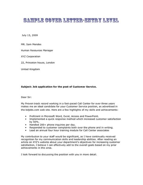 cover letter exles for entry level 10 formal cover letter sle for an entry level