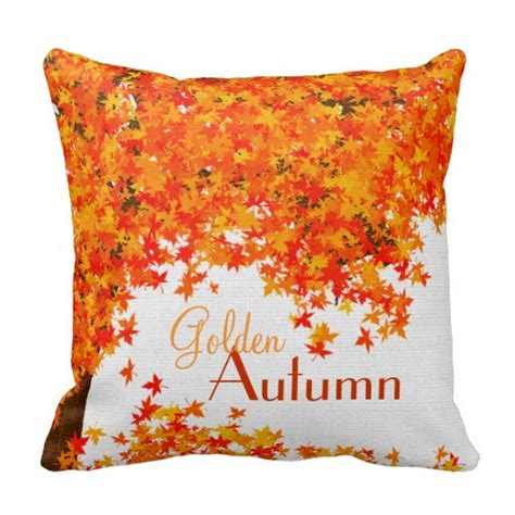 fall themed throw pillow golden autumn home decor zazzle