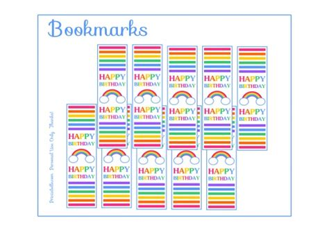printable rainbow bookmarks free rainbow party printable bookmarks rainbow birthday