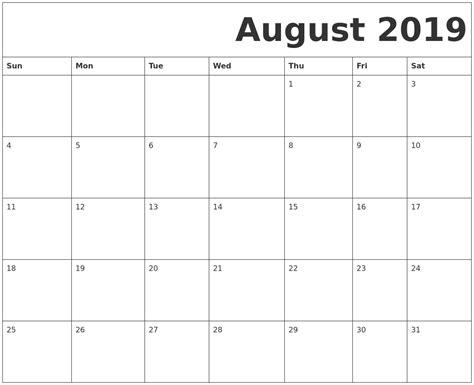 printable calendar 2019 august 2019 free printable calendar
