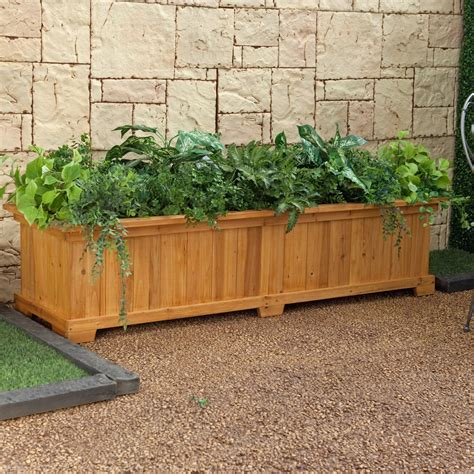 Coral Coast Rectangular Cedar Wood Aster Patio Planter Box Patio Garden Planters