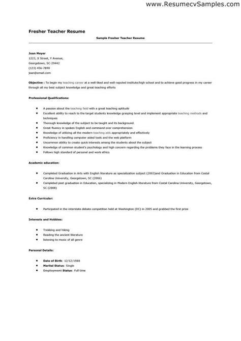 best resume format for freshers teachers resume sle for applying sle resume cvtips fresher resume