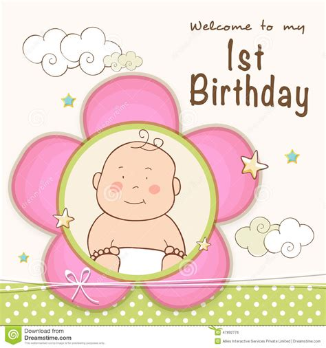 baby birthday card template 1st birthday invitation card design stock illustration