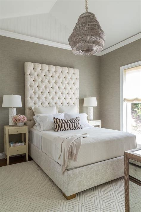 cream  gray bedroom  gray grasscloth transitional