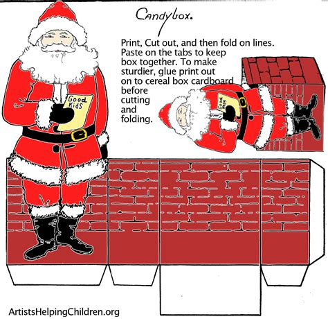 printable box art paper crafts templates make a santa clause paper candy