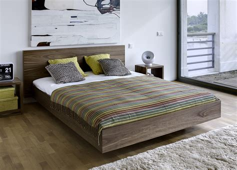 Floating Beds Elevate Your contemporary wood floating beds furniture striped blanket