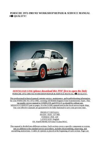 how to download repair manuals 1988 porsche 911 lane departure warning porsche 1972 1983 911 workshop repair service manual quality by mary jane issuu