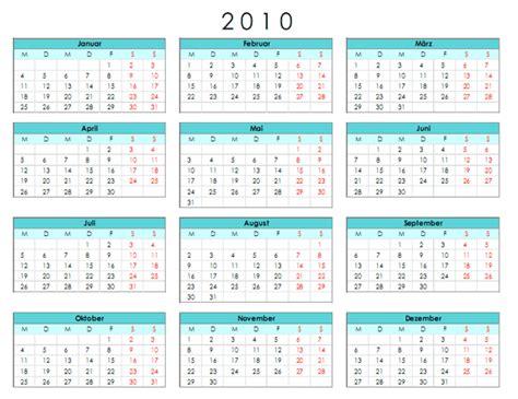 Kalender Ausdruck Jahreskalender 2010 Office Vorlage Kostenlos Runterladen
