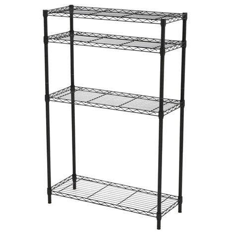 Black Metal Shelf Unit by Hdx 4 Shelf Steel Unit In Black Sl Wsus 110b The Home Depot