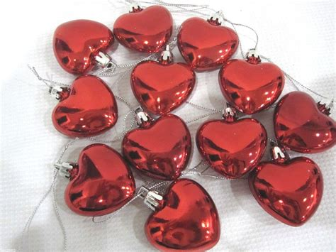 valentines day shiny red hearts 2 quot ornaments decorations