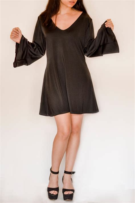 45791 Black Wide Sleeve S M L Dress nuinabelove wide sleeve dress from buenos aires by