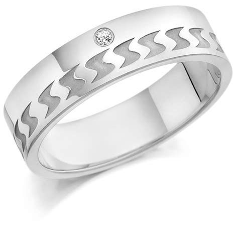 platinum gents 6mm wedding ring with frosted s shape