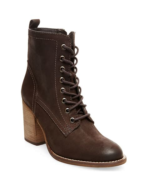 steve maddens boots steve madden lauuren leather ankle boots in brown lyst