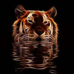 The Blind Man Is King Fractal Tiger In Shimmery Water By Megaossa Animals