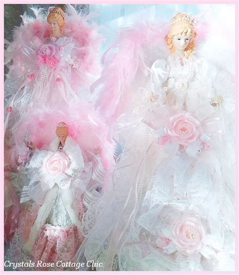 shabby chic pink princess angel christmas tree toppers