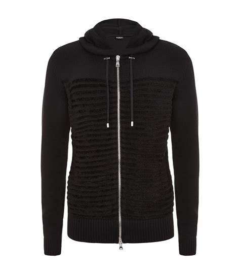 Striped Sleeve Velvet Hoodie Black balmain velvet flock striped hoodie in black for lyst