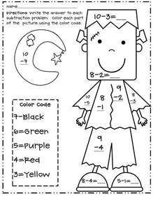 color subtraction color by number subtraction 1st grade search results