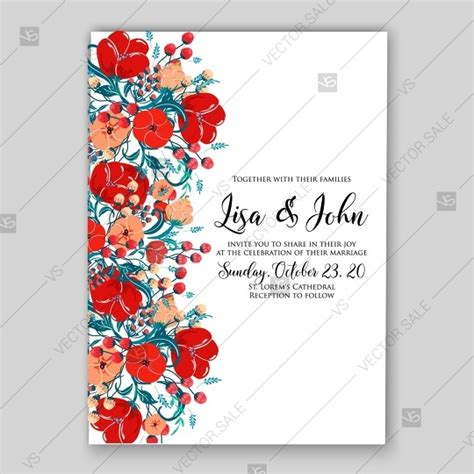 Tulip Card Template by Floral Wedding Invitation Vector Template Card In
