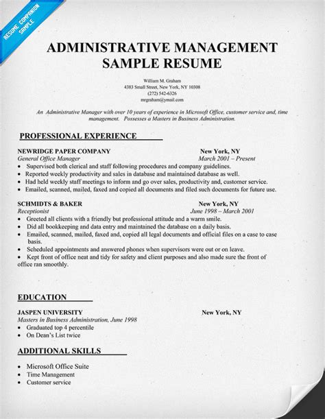 resume format for admin manager exle resume sle resume administrative manager