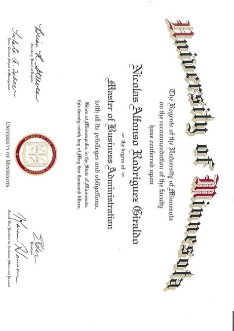 Umn Mba by Mba Diploma Of Minnesota