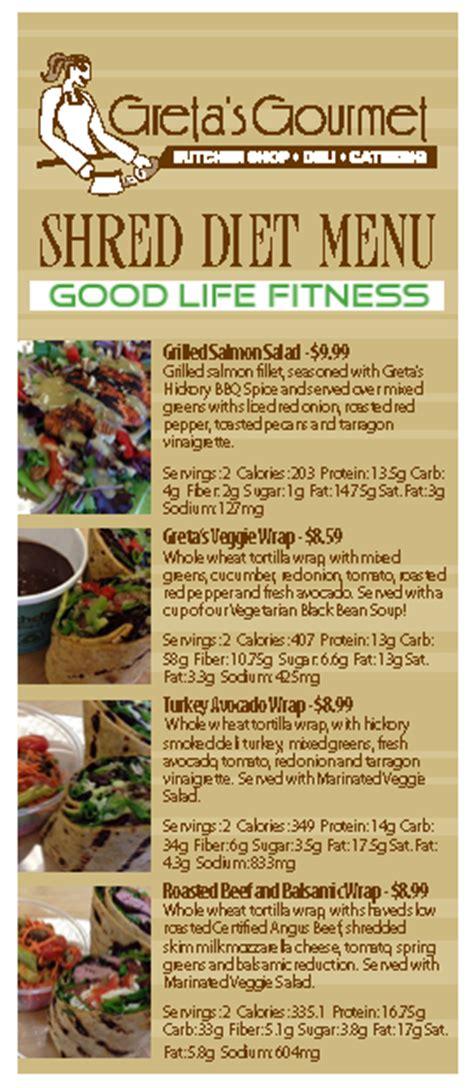 diet menu shred diet menu