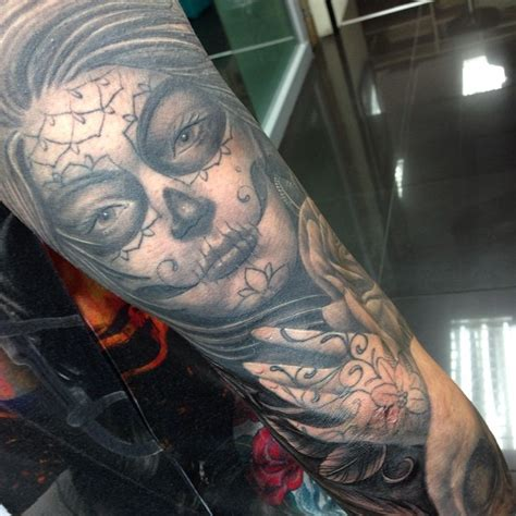 day of the dead tattoo sleeve by craig holmes by