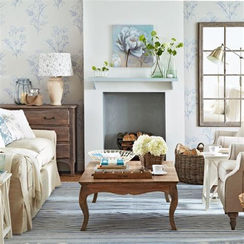 pale blue and floral living room living room