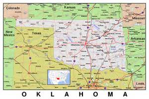 State Map Of Oklahoma by Detailed Map Of Oklahoma State With Relief Vidiani Com