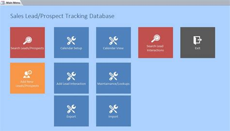 access sle database templates version microsoft access sales lead prospect tracking database