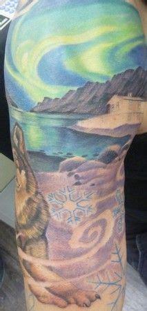 feather tattoo geelong bear silhouette aurora original painting aurora borealis