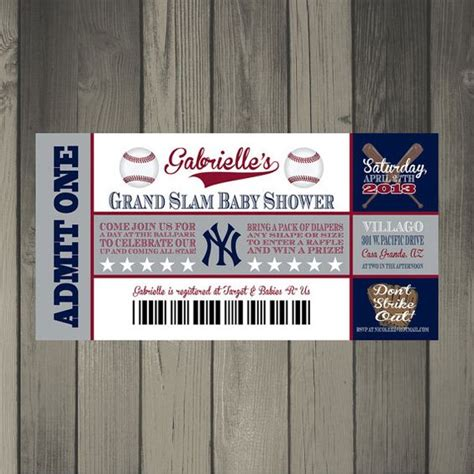 printable yankee tickets new york yankees baby shower ticket invitation by
