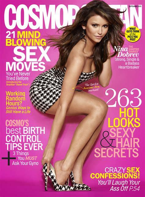 cosmopolitan magazine nina dobrev shows lots of leg on cosmopolitan cover talks