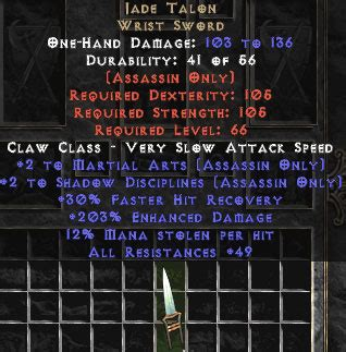 unique claws weapons west ladder diablo 2 jonas