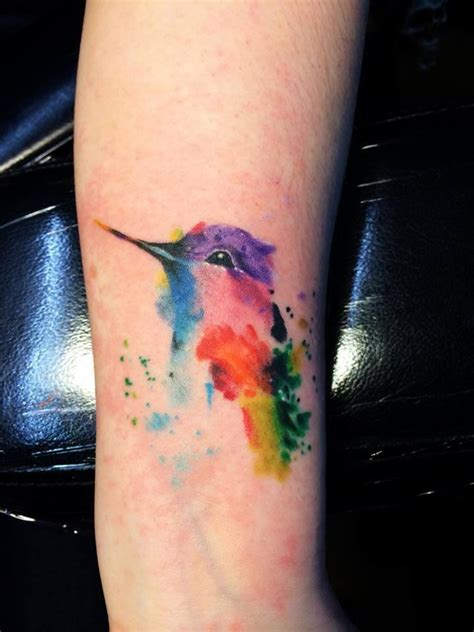 bellingham tattoo watercolor hummingbird by kc lange gold in