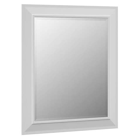 White Framed Mirrors For Bathrooms Shop Villa Bath By Rsi 29 In X 35 25 In White Rectangular Framed Bathroom Mirror At Lowes