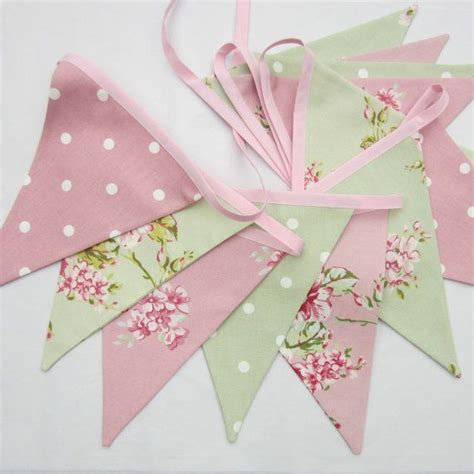 fabric bunting shabby chic style flowers and dots pink