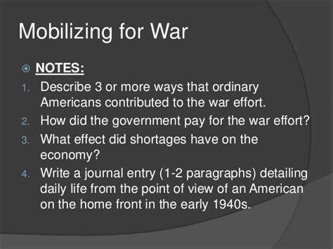 Office Of War Mobilization Definition by Mobilizing For War