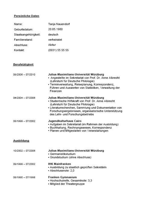 Lebenslauf Muster Chefsekretärin Sekret 228 Rin Lebenslauf