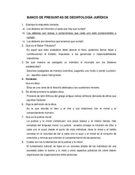 preguntas y respuestas guerra fria banco de preguntas de deontolog 237 a jur 237 dica final 3