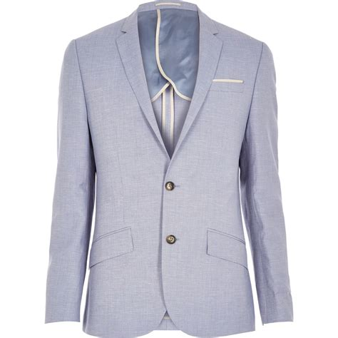 light blue linen lyst river island light blue linen slim blazer in blue