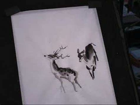 tattoo rice paper painting deer in ink and watercolor with chinese brush on