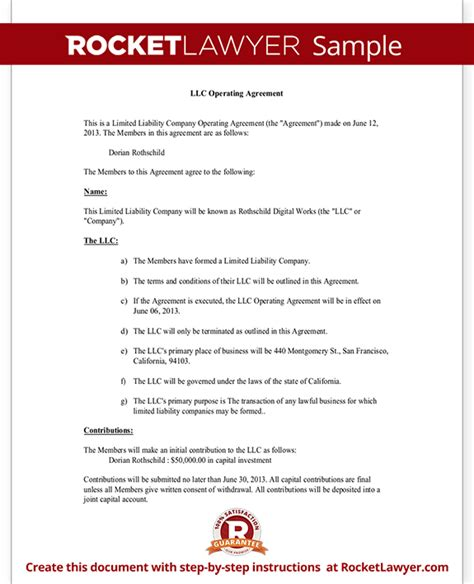 Llc Operating Agreement Llc Membership Agreement Template