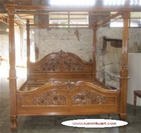 kelambu tempat tidur 180x200cm dipan tiang kelambu kanopi kayu jati ukiran mawar jepara