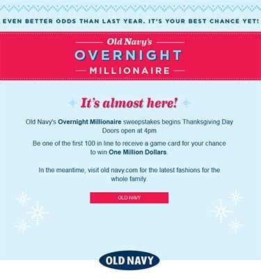 Old Navy Million Dollar Giveaway Winner - oldnavy promo eprize com millionaire old navy black friday 1 million dollar giveaway