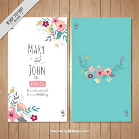 Wedding Card Free by Floral Wedding Card On A Turquoise Background Vector