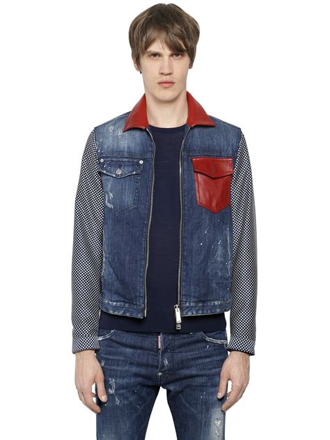 dsquared 178 polka dot sleeves cotton denim jacket in blue for lyst