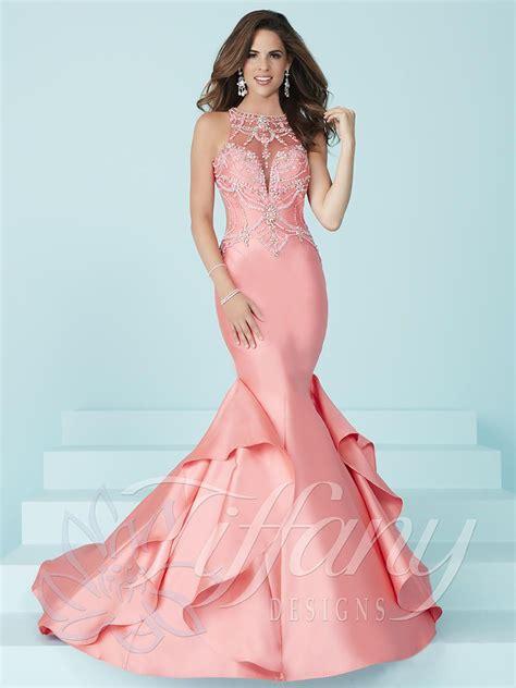 design dream prom dress tiffany designs 16245 prom dress with side ruffle panel
