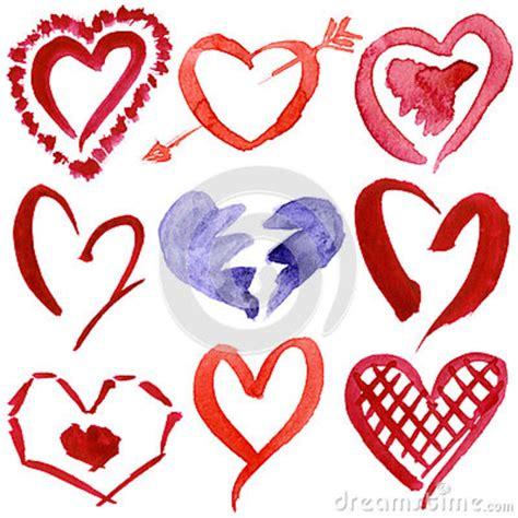 imagenes de corazones dibujados a mano corazones dibujados mano abstracta de la acuarela fijados