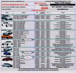 Www Toyota Philippines Pricelist Toyota Philippines Price List 2016 2017 2018 Best Cars