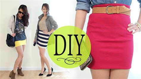 no pattern dress youtube diy fashion bodycon tube skirt w basic tee sew no sew